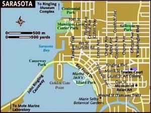 Map of Sarasota area, dog training
