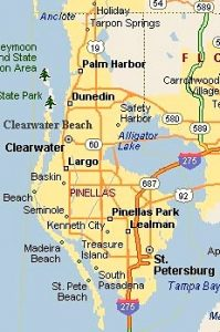 Map of Pinellas area, dog training